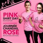 ピンクシャツデーいじめ反対運動のためにピンクシャツを着たフィギュアスケート選手