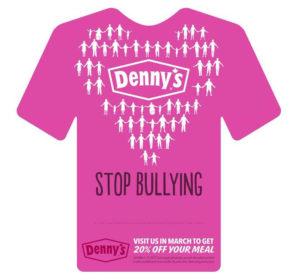 ピンクシャツデーいじめ反対運動のために用意されたファミリーレストランのメッセージカード