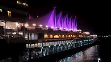 ピンク色にライトアップされたカナダプレイスの建物