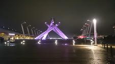 ピンク色の照明に照らしだされたオリンピック聖火台
