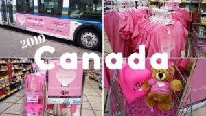 店内に陳列された沢山のピンク色のTシャツ