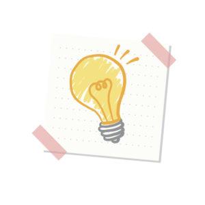 アイデア閃きを現す電球のイラスト