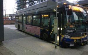 ピンク色のポスター広告をつけて走るカナダのバス