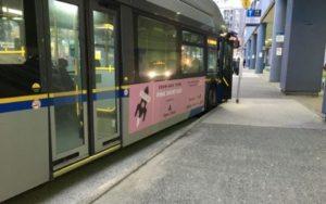 ピンク色のポスター広告が目を惹く市内バス