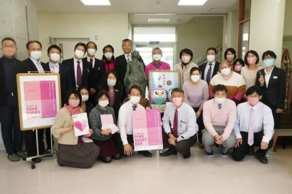ピンクシャツデーキャンペーンに参加の千葉県君津市立周西南中学校教員のみなさま